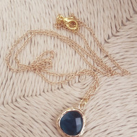 Dainty jewelry Gold necklace Crystal pendant Blue Jewelry Gift Bridesmaid Gift Delicate necklace