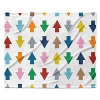 "Project M ""Arrows Up and Down White"" Fleece Throw Blanket"