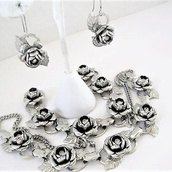 Silver Rose Necklace Set, Rhinestone Centered, Garden Party Choker