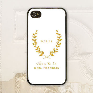 Soon to be phone case iPhone 5 5s 5C 4 4s 6 6+ plus Samsung Galaxy s3 s4 s5, Bridal Shower Gift, Faux gold glitter bride phone case B4742