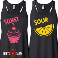 Women's Best Friends Sweet Sour Tanks - Tank Tops Shirts For Besties Cupcake Lemon Cute