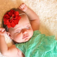Poinsettia Flower Baby Girl Headband