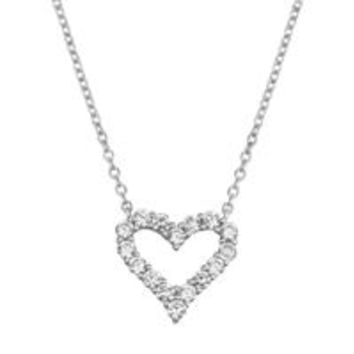 A 925 Sterling Silver Diamond Heart Necklace Pendant