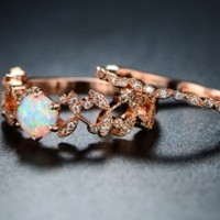 Peermont Fire Opal Flower Ring Set in 18K Rose Gold Plating