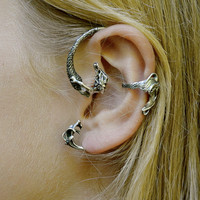 Mermaid Ear cuff Silver Colored Hand Painted
