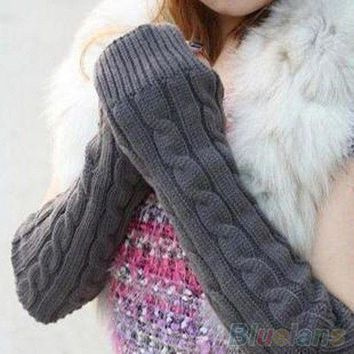 Women's Men's Long Knitted Crochet Fingerless Braided Arm Warmer Gloves 1PCL
