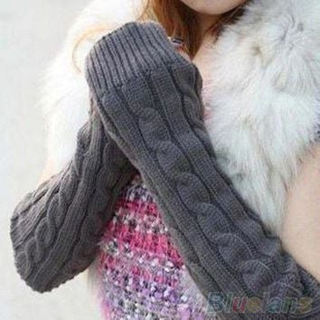 Women's Men's Long Knitted Crochet Fingerless Braided Arm Warmer Gloves 9DT8