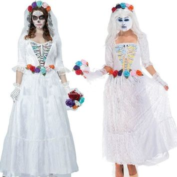 Halloween new cosplay costume white lace gauze ghost bride gothic costume dress long dress zombie skeleton play scary costume
