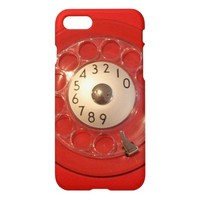 Vintage red funny retro rotary dial phone iPhone 7 case