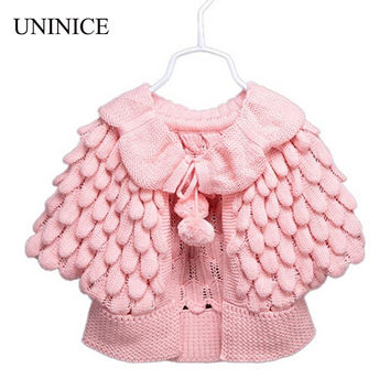 Baby Girl Clothes 2016 New Girl Cardigan Children Clothes Cute Batwing Sleeve Pineapple Knitting Wool Sweater Coat Girls Sweater