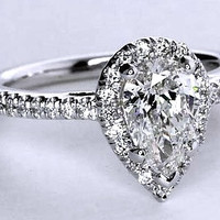 1.31ct G-VVS2 Pear Shape Diamond Engagement Ring GIA certified Platinum Halo JEWELFORME BLUE