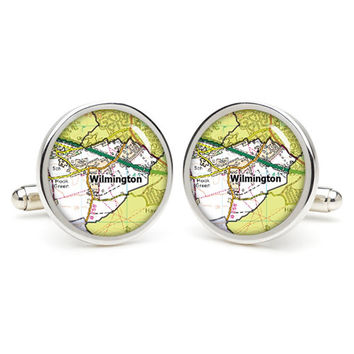 Wilmington  map cufflinks , wedding gift ideas for groom,gift for dad,great gift ideas for men,groomsmen cufflinks,silver cufflinks,Map