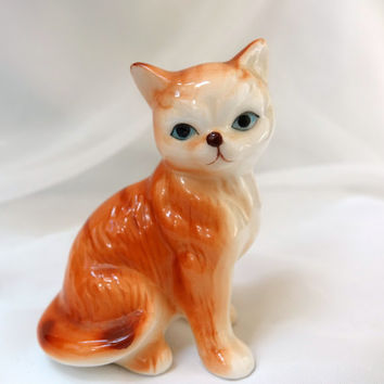Cat Orange Tabby Figurine Brinn's of  Pittsburgh Pa Vintage Japan