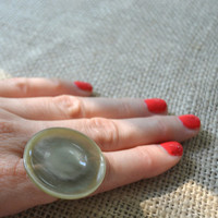 Vintage Button Ring, Adjustable Grey Cocktail Ring, Statement Ring, One of a Kind Ring