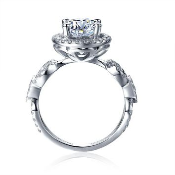 14KT White Gold Lab Diamond 1 Carat Halo Engagement Ring