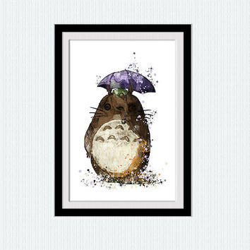 Totoro watercolor print My neighbor Totoro art poster Disney  watercolor decor Home decoration Kids room wall art Nursery room decor W51