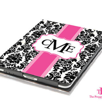 iPad Mini Case - Reverse Damask Personalized Monogram Tablet Book Cover