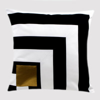 """Cotton Black-White Throw pillow case with Gold accent on the front, fits 18""""x 18"""" insert,  Cushion case, Toss pillow case."""