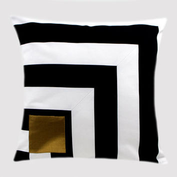 "Cotton Black-White Throw pillow case with Gold accent on the front, fits 18""x 18"" insert,  Cushion case, Toss pillow case."