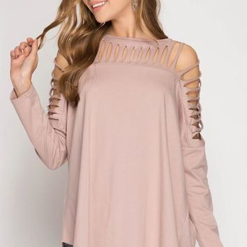 Laser Cut Top - Mocha Rose