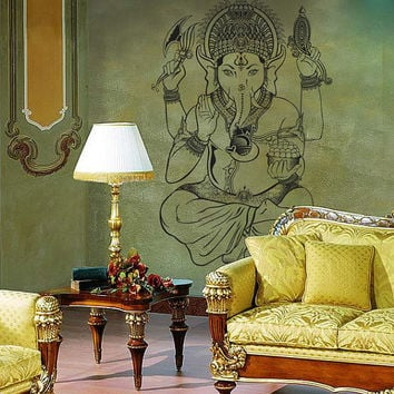 Interior Ganesh Wall Decal Vinyl Sticker Art Decor India statues Buddhism India Indian Yoga Buddha success god lord (i110)