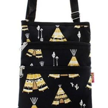Teepee Print Messenger Bag