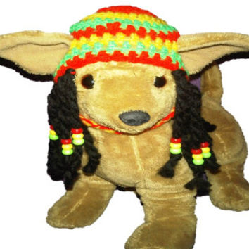 Rasta dog hat with beaded dred locks - for small size dogs chihuahua / yorkie great photo prop