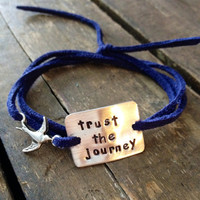 """hand stamped quote bracelet with bird charm, """"trust the journey"""" inspirational, wrap bracelet, faux suede, gift idea"""