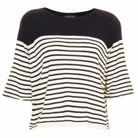 Knitted 1/2 Sleeve Stripe Top - Navy Blue