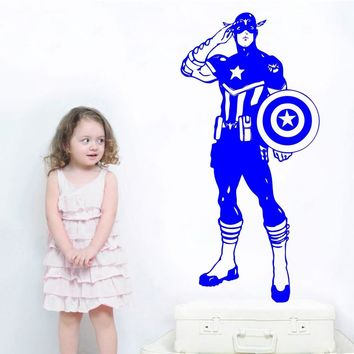 Wall Decal Vinyl Sticker Captain America Marvel Comics Superhero Avengers Kids Bedroom Living Room Decoration Wallpaper  WW-207