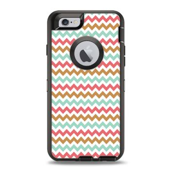 The Vintage Brown-Teal-Pink Chevron Pattern Apple iPhone 6 Otterbox Defender Case Skin Set