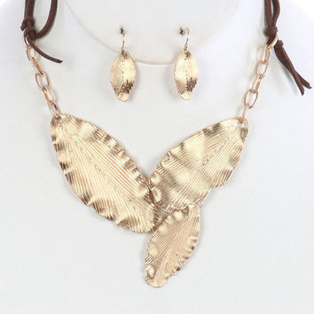 Gold leaf necklace Metallic beads Leaf necklace Metal leaf jewelry Leaf branch necklace Unique Leaf Necklace Leaf pendant necklace gold
