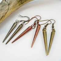 Spike Earrings, Long Earrings, Copper Jewelry, Bronze Earrings, Gunmetal Earrings, Dangle Earrings