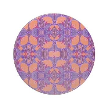 Art Deco Pattern - Purple and Orange Sandstone Coaster