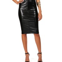 Black Faux Leather/Knit Combo Skirt
