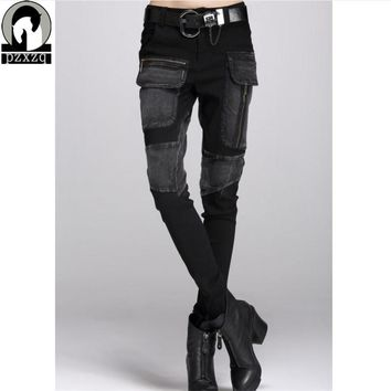 free shipping Europe Sexy Black jeans woman pencil pants autumn winter baggy casual jeans women Loose Haren pants jeans feminina