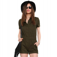 Army Green Single Pocket Romper with Collar