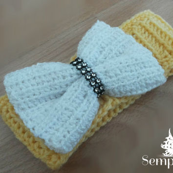Free shipping! crochet headband, bow headband, ear warmer, turban headband-0-3m baby headband