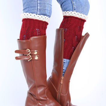 Hot Deal On Sale Socks Ladies Lovely Hollow Out Leaf Lace Knit Boots [8447923405]