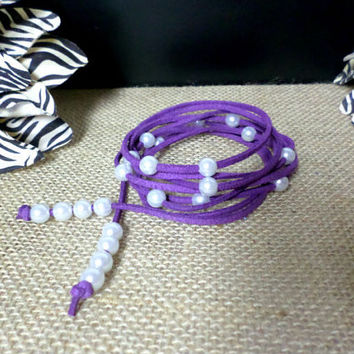 6 Wrap Boho Dark Purple Suede Leather White Pearl Multi Wrap Bracelet, Lariat Choker Necklace, Anklet - Pick COLOR / LENGTH Usa Seller, gift