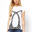 White Two Giraffes Pattern Print Short Sleeve Graphic Tee
