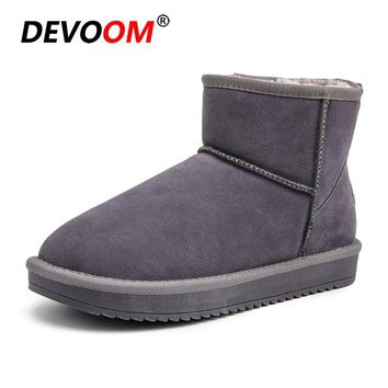 Fashion Slip on Plush Booties 2018 Woman Boots Shoes Winter Peluche Snow Boots Women Suede Nubuck Leather Fur Ankle Plus Size