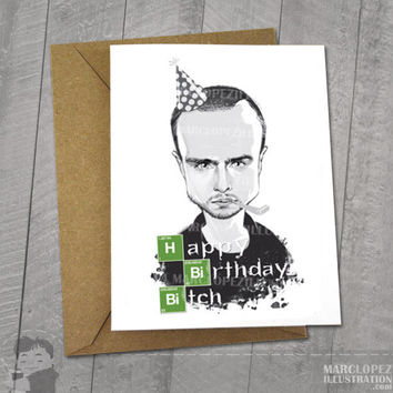 BREAKING BAD Birthday Card, Black and White Aaron Paul, Jesse Pinkman Caricature, Gray Scale Greeting Card 5 x 6.5, 5 x 7 Kraft Envelope