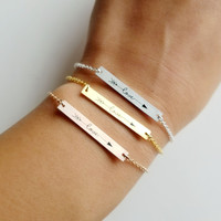 "Cute ""LOVE"" Minimalist Bar Bracelet Simply Horizontal Love Arrow Silver Bar Bracelets Rose Gold Bar Bracelet for Women"