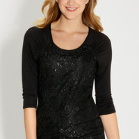 top with shimmering lace front