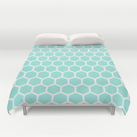 Honeycomb Tiffany Blue Duvet Cover by Beautiful Homes