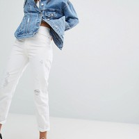 Bershka Distressed Mom Jean at asos.com