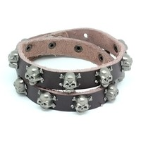 Top Value Jewelry - Mens Brown Leather Biker Bracelet with Vintage Silver Plated Skull and Cross Bones - Like Love Buy