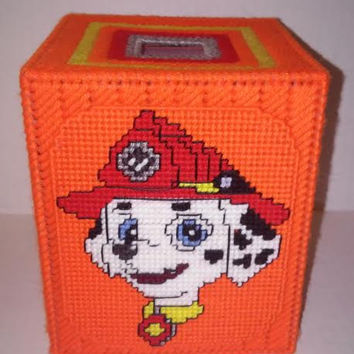 Marshall Tissue Box Cover, Puppy Power Box, Fire Marshall Cover, Plastic Canvas Box, Paw Patrol Tissue Box, Get Well Gift, Dalmatian Decor