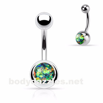 Opal Sparkly Belly Ring Dark Green Glitter 14ga Surgical Steel Body Jewelry Navel Ring